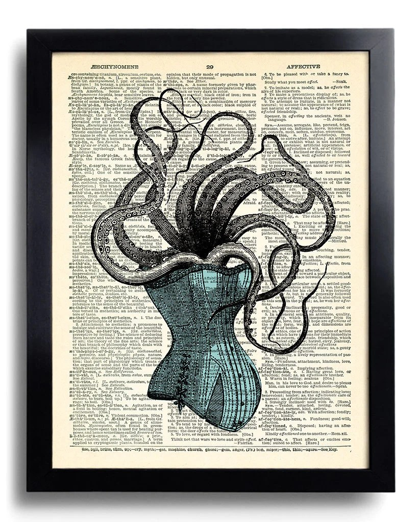 Cool Octopus Art Octopus Squid Victorian Corset Art Print Cool Bedroom Wall Decor Gift For Girlfriend Gothic Artwork Decoration 158