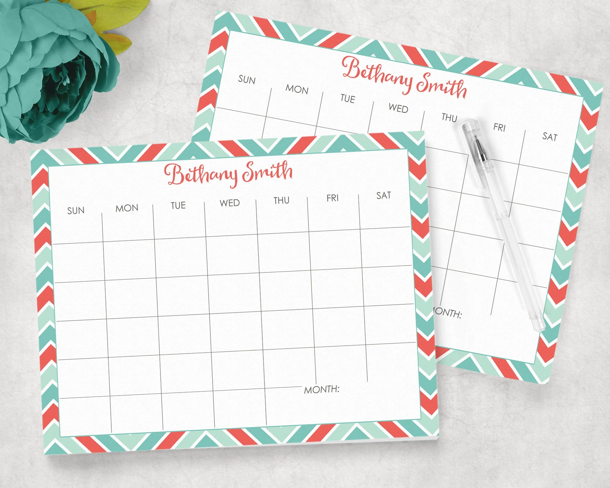 Personalized monthly calendar pad chevron print 85x11 Etsy