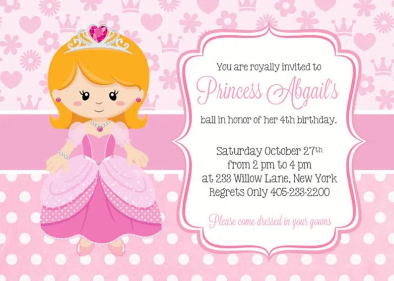 Princess Birthday Invitations Princess Party Invitation Etsy