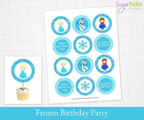 Printable Cupcake Toppers for a Frozen birthday party Frozen Etsy
