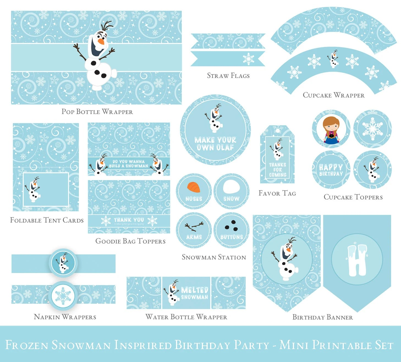 Frozen Birthday Printable Set Olaf birthday Party Etsy