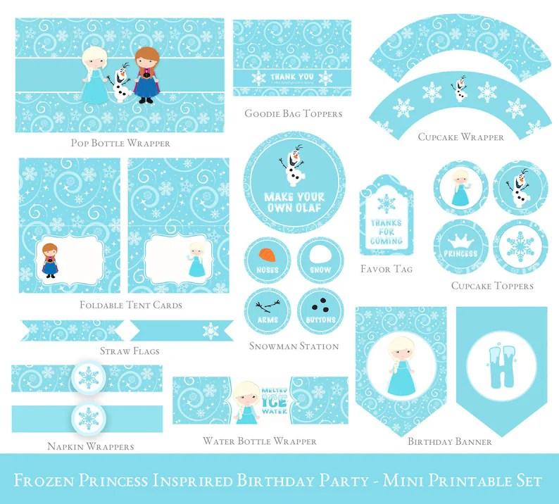 Frozen Birthday Printable Mini Set Olaf Party Printable Etsy