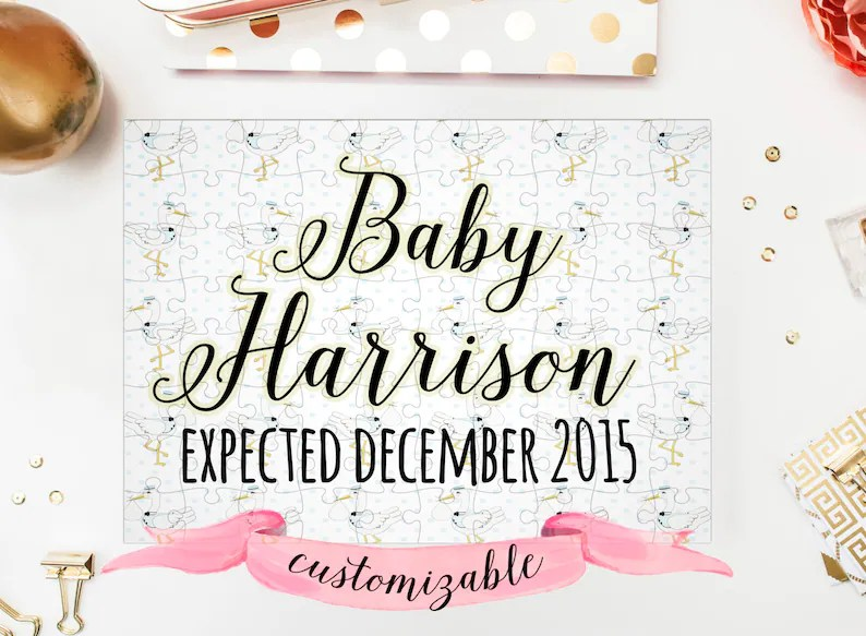 PREGNANCY Announcement PUZZLE Gender Neutral Background Baby Etsy