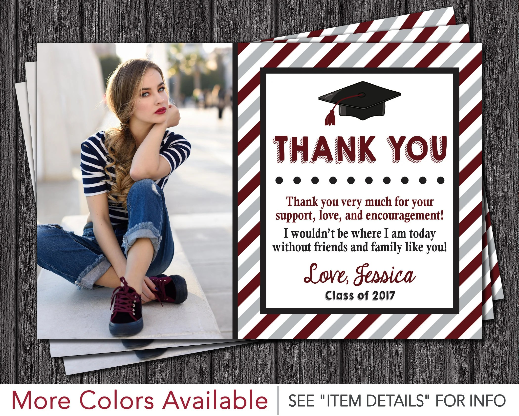Graduation Thank You Card Graduation Party Thank You Card Etsy