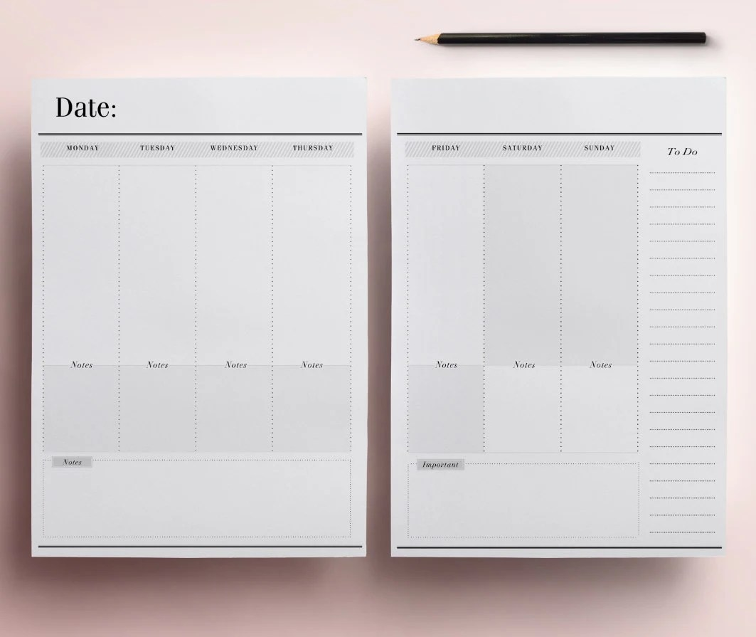 Printable Planner Pages Undated Monthly  Weekly Across 2 Etsy - weekly planner pages