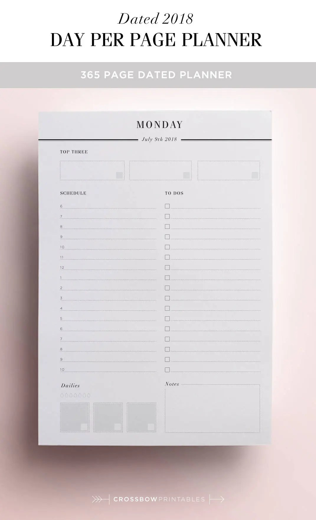 2018 Daily Planner Printable Day On One Page DO1P 2018 Etsy