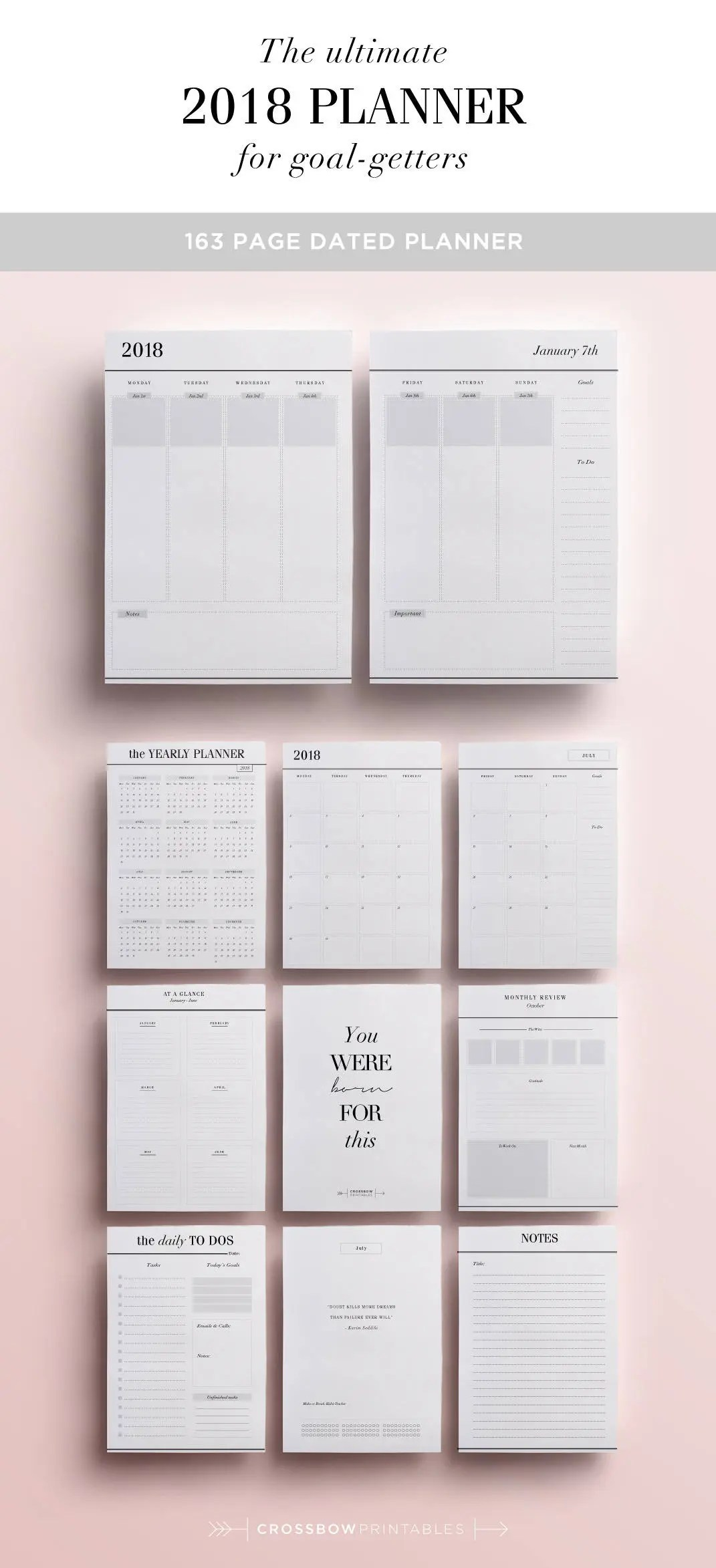 2018 Planner Inserts Printable Monthly Planner Weekly Etsy - weekly planner pages