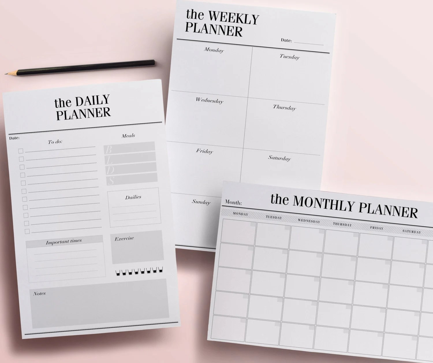 Printable Planner Pages Daily Weekly and Monthly Planners Etsy - daily monthly planners