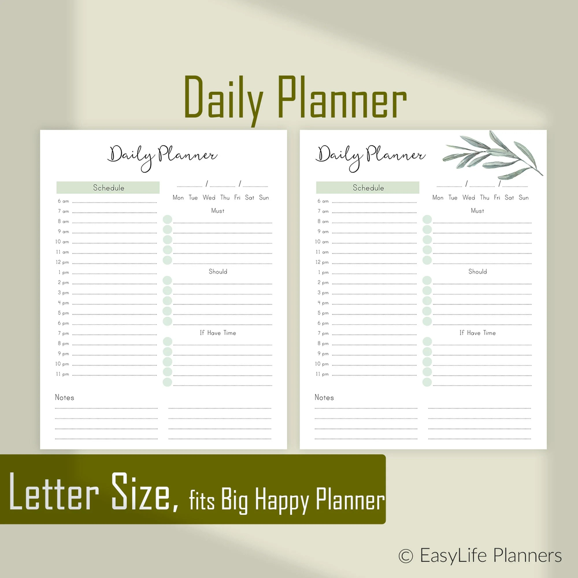 Daily Planner Pages Daily Agenda Printable agenda Letter Etsy