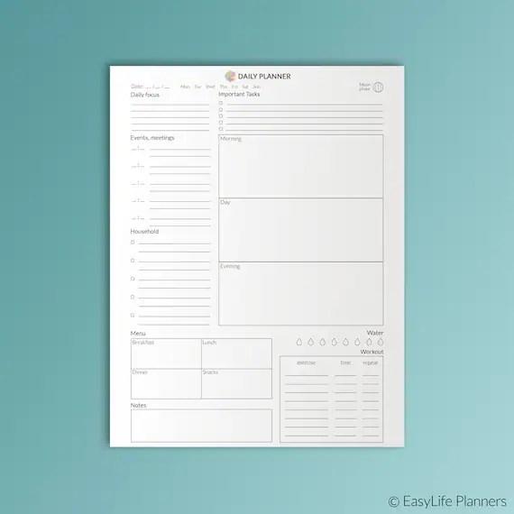 Daily Planner Printable Letter Inserts PDF Family Planner Etsy