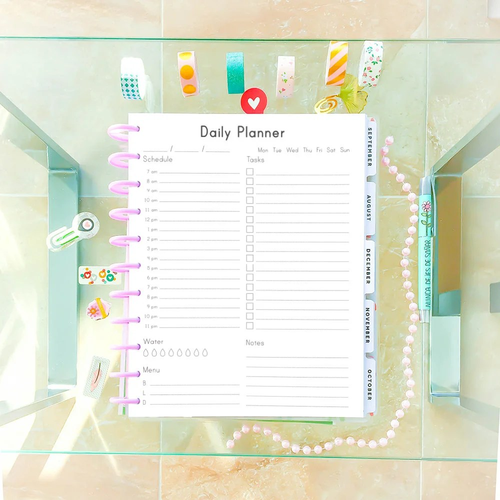 DAILY PLANNER Printable Letter Size 85x11 Big Happy Planner Etsy