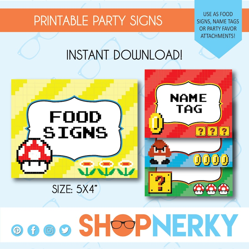 PRINTABLE 8-bit Mario Themed Food or Favor Signs Name Tag Etsy