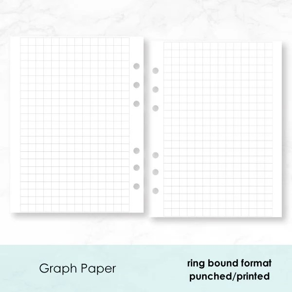 B6 Rings Graph Paper PRINTED insert 30 double-sided sheets Etsy