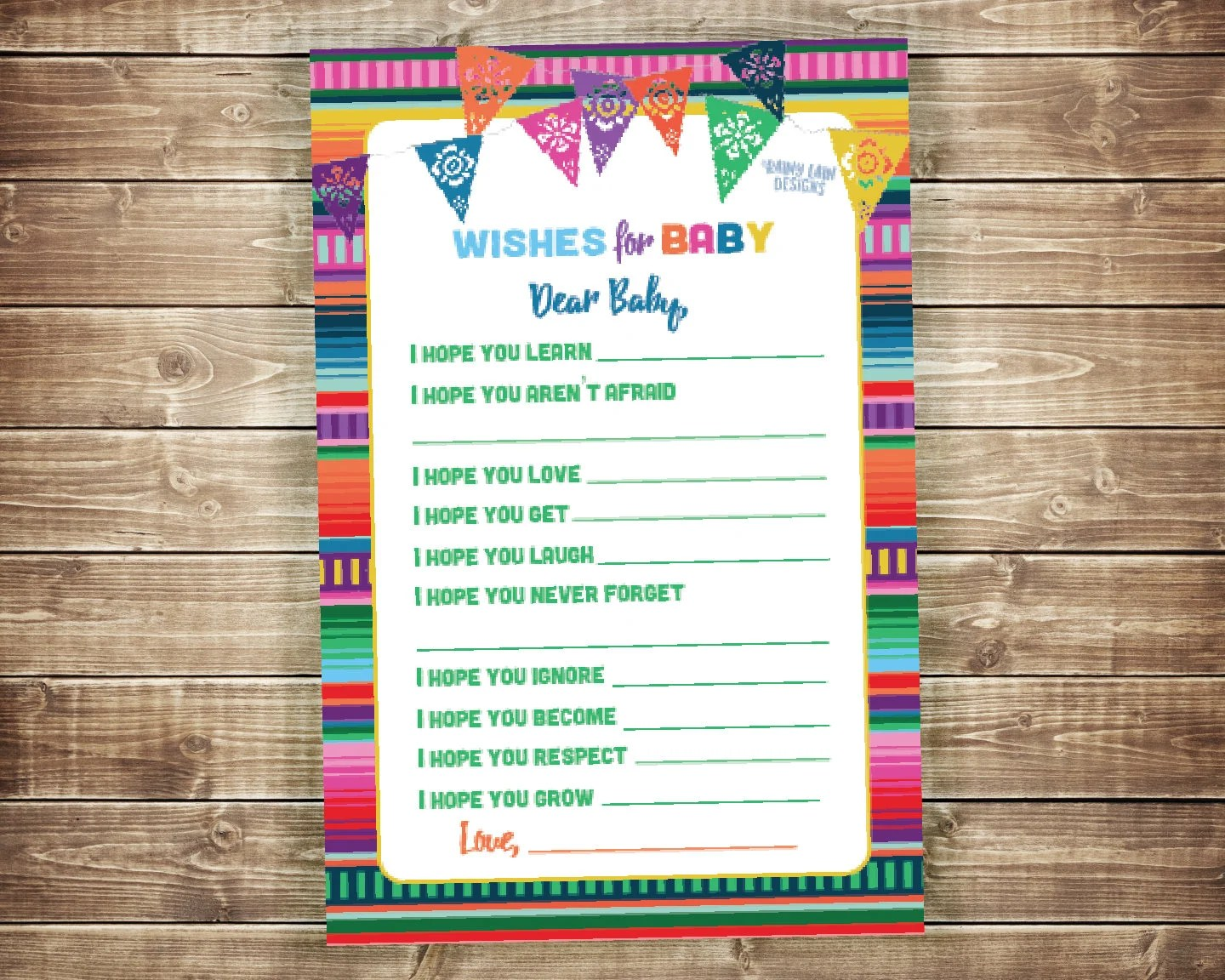 Wishes for Baby Dear Baby Printable Fiesta Baby Shower Baby Etsy
