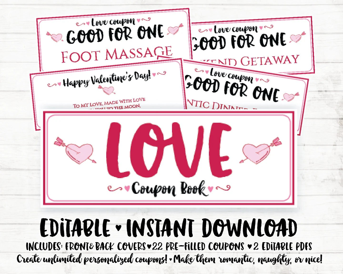 Valentine Printable Coupons Valentines Day Coupon Book Etsy