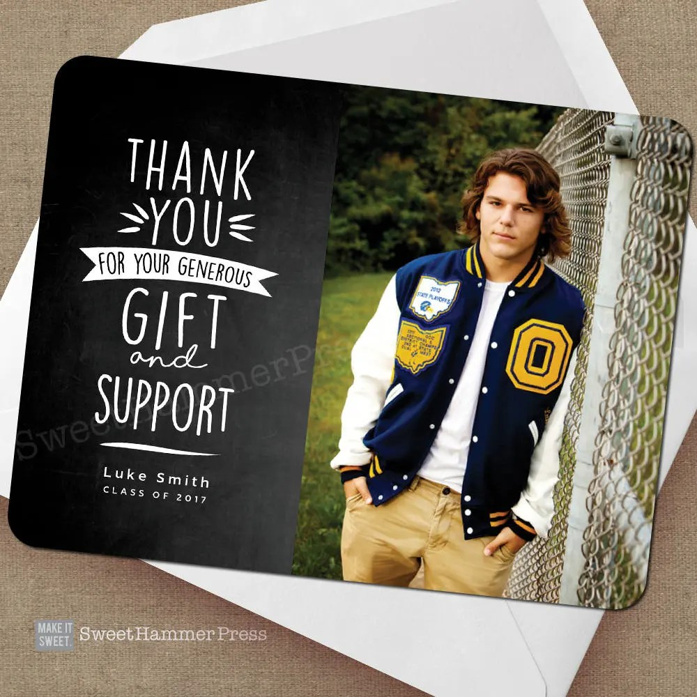 Guy Thank you graduation notes Grad Thank You Cards Boy Etsy