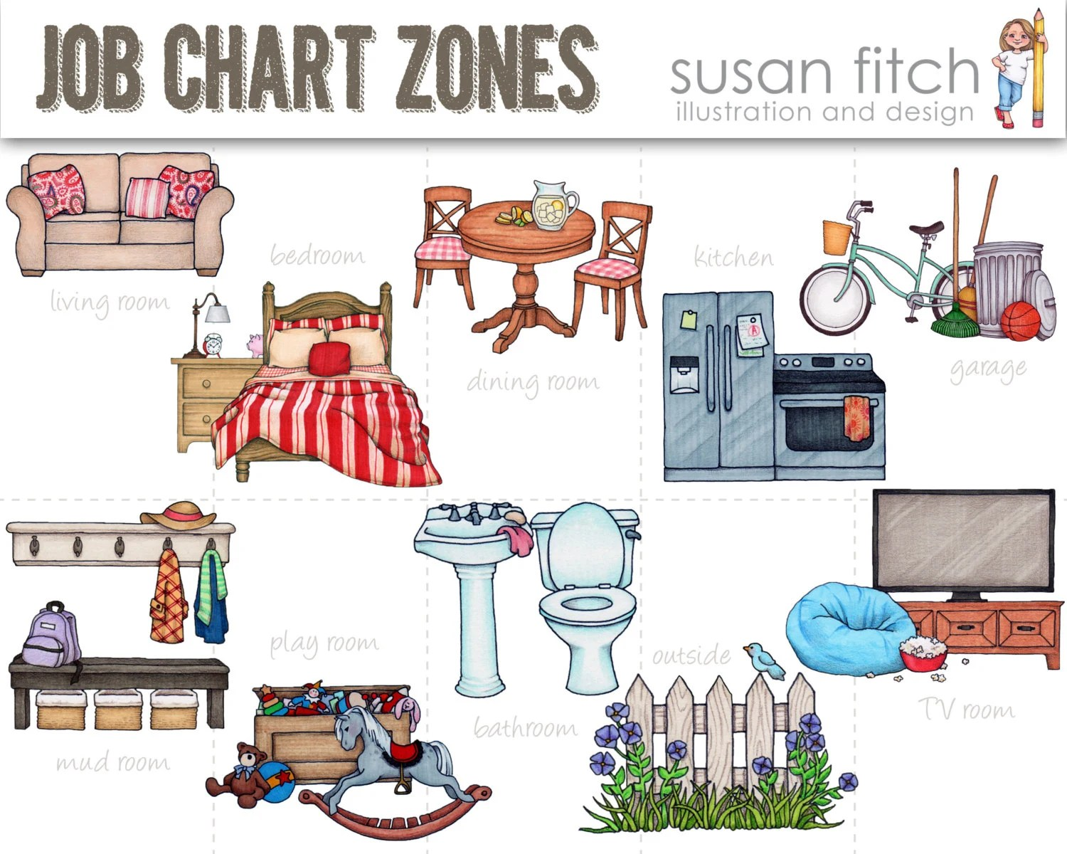 Chore Chart Cleaning Zones Clip Art Etsy