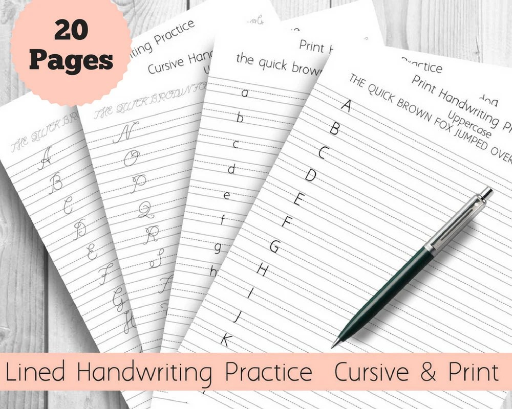 Handwriting Practice Sheets Cursive and Print Lined pages Etsy