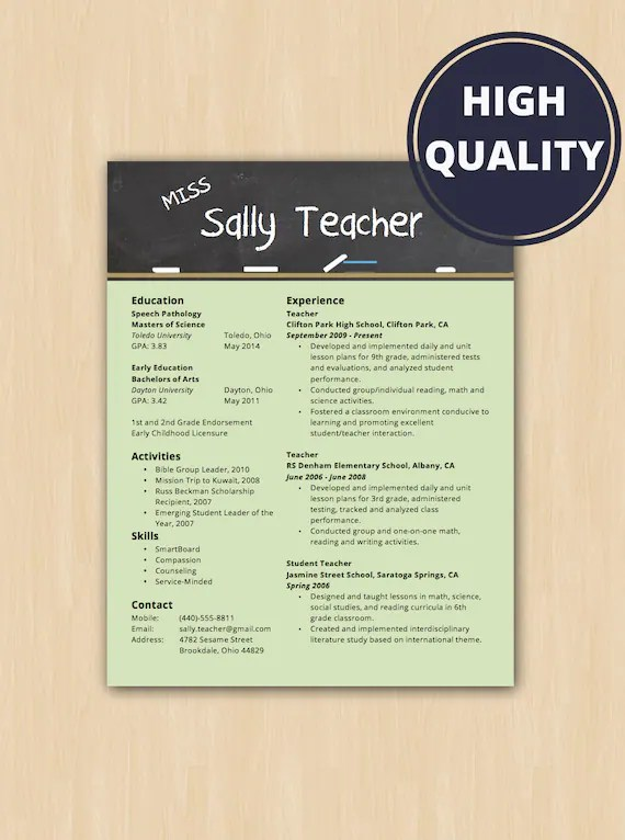 Elementary School Teacher Resume  Cover Letter Modern Etsy