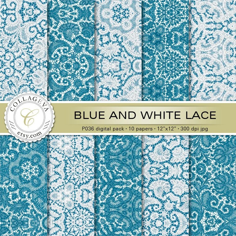 Blue  White Lace Digital Pack 10 Printable Scrapbook Paper Etsy