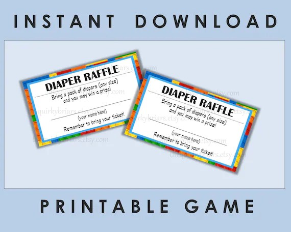 Printable Diaper Raffle Tickets / Baby Shower Games / Baby Boy