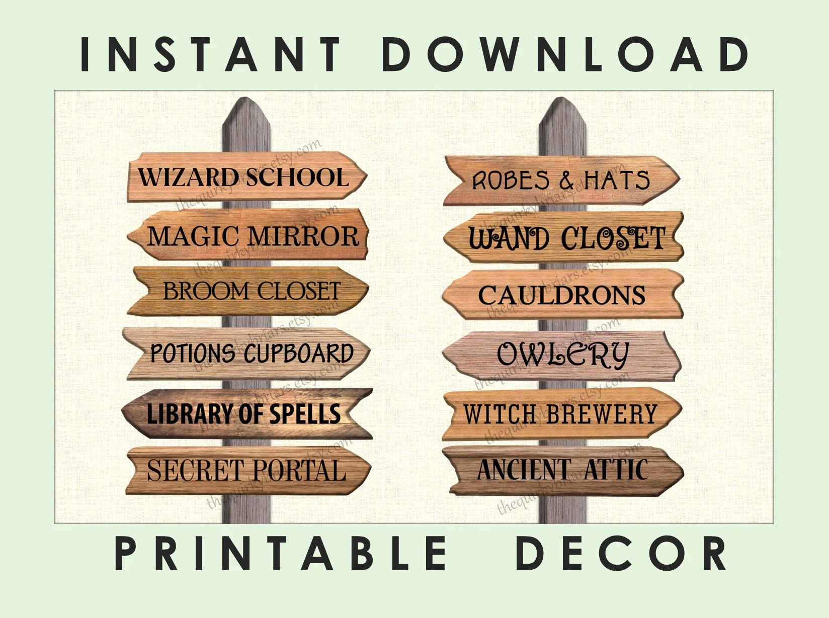 Wizard Theme Decors / Photo Props / Printable Wooden Arrow Signs