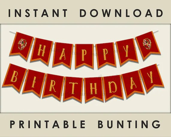 Wizard Theme Party Banner / Printable Happy Birthday Banner / Red