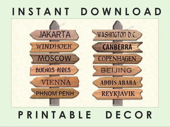Printable Travel Themed Wooden Arrow Signs / Around The World