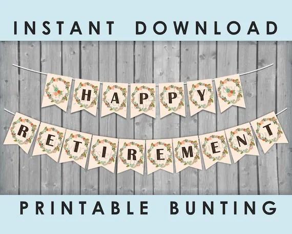HAPPY RETIREMENT Banner / Boho Theme / Woodland / Greenery Garden