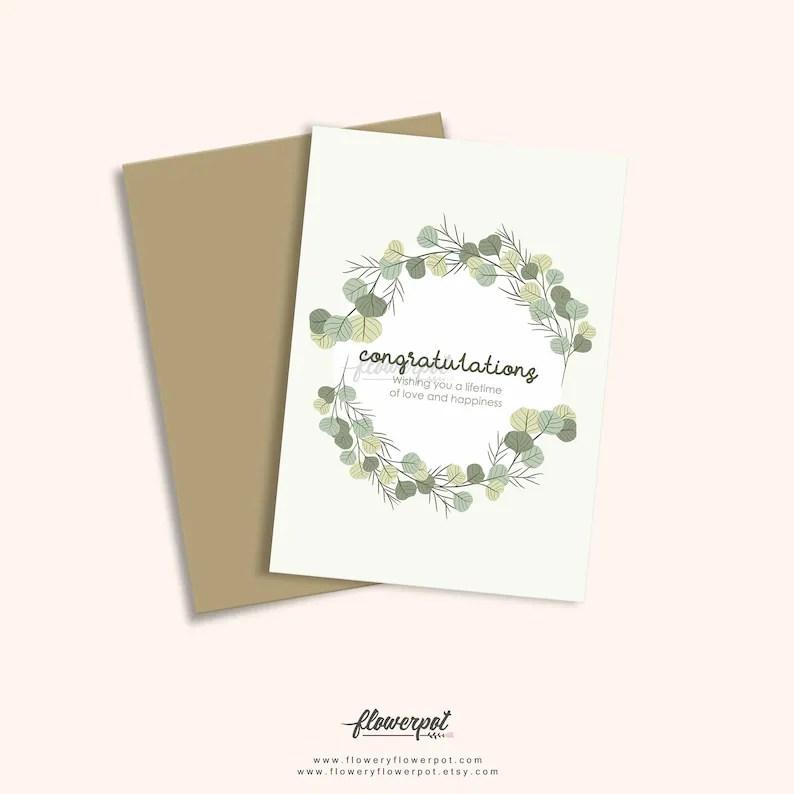 Wedding Congratulations Greeting Card Digital Printable Etsy