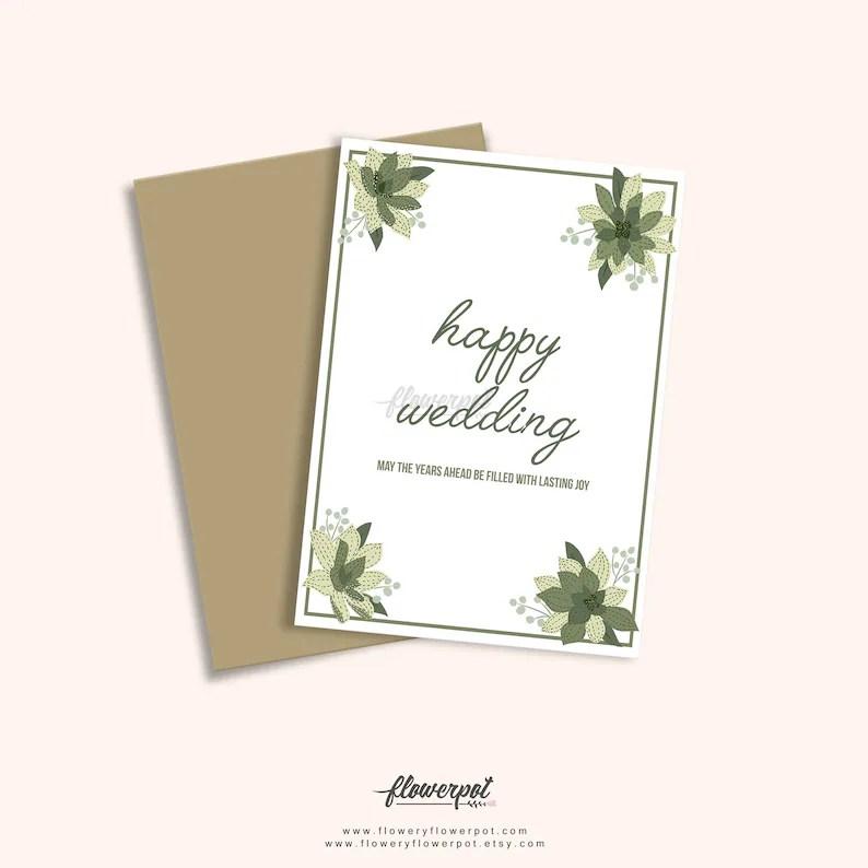 Printable Happy Wedding Congratulations Greeting Card Wedding Etsy