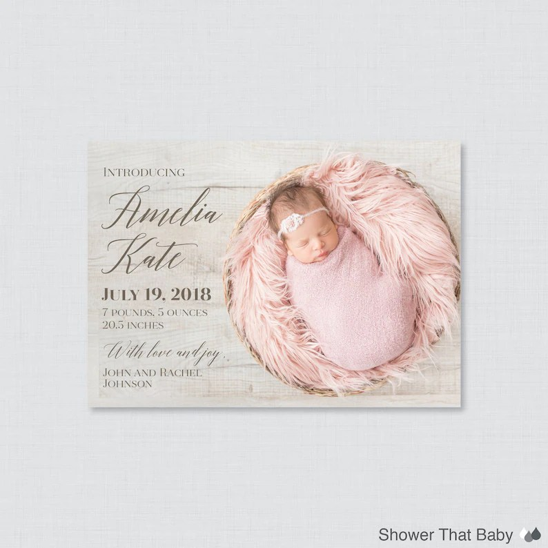 Printable or Printed Birth Announcement Cards Photo Birth Etsy