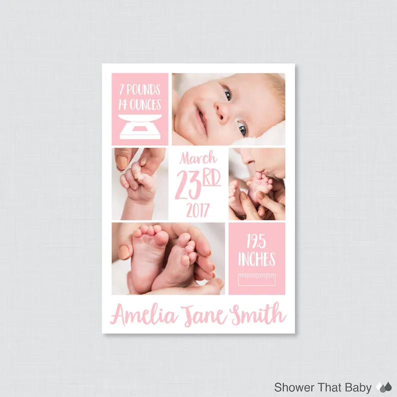 Printable or Printed Pink Photo Birth Announcement Cards Etsy