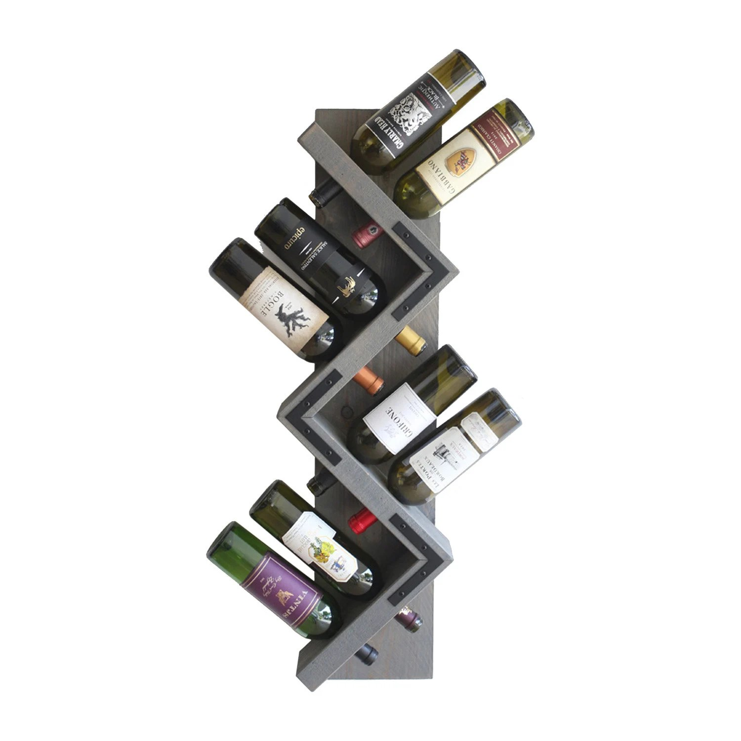 Diy Range Bouteille Zig Zag Wine Rack Rustic Wood Wall Mounted Wine Bottle Display Wine Bottle Storage Holder Vertical Wine Rack