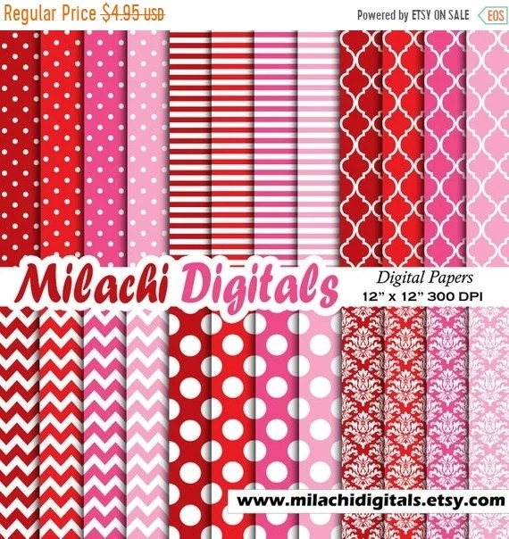 65 OFF SALE Red and pink digital paper scrapbook papers Etsy