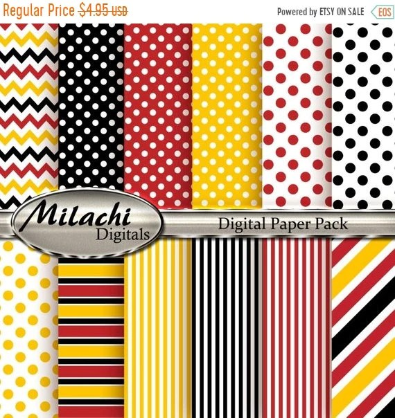 60 OFF SALE Mickey Mouse Digital Paper Polka Dots Stripes Etsy