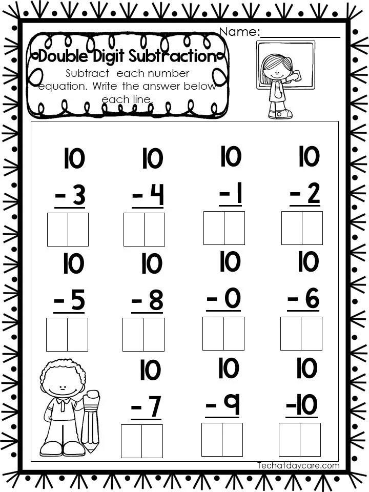 15 Printable Double Digit Subtraction Worksheets Numbers Etsy