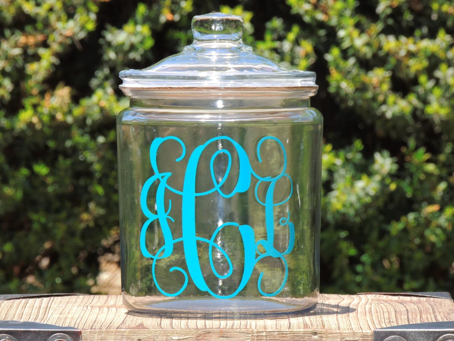 Modern Cookie Jar Monogrammed Glass Cookie Jar Candy Dish Wedding Candy Jar