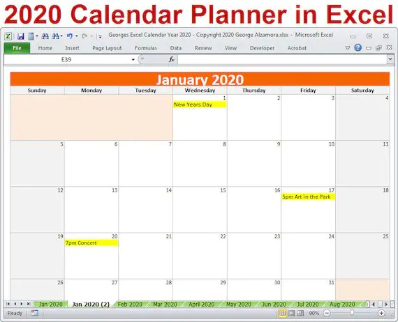 2020 Calendar Year Planner Excel Template 2020 Monthly