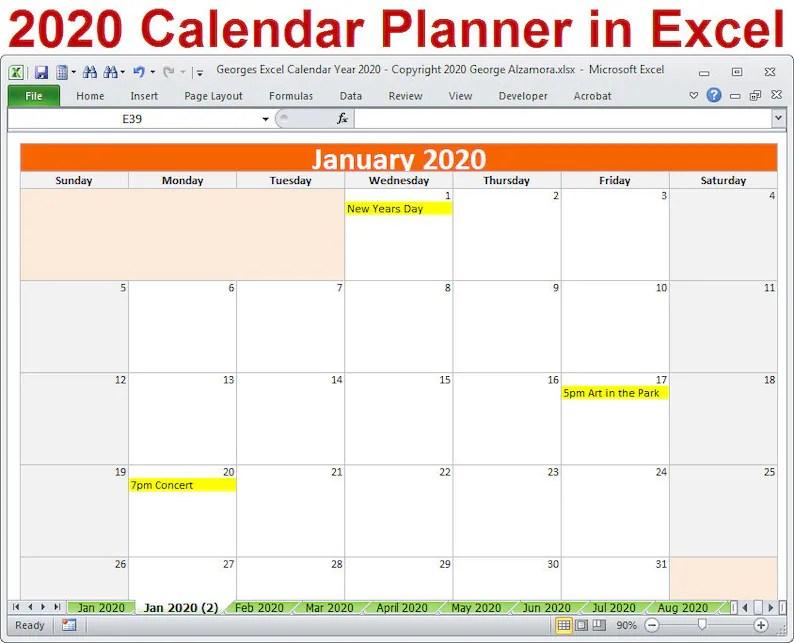 Plantilla de Excel del 2020 año calendario planificador 2020 Etsy