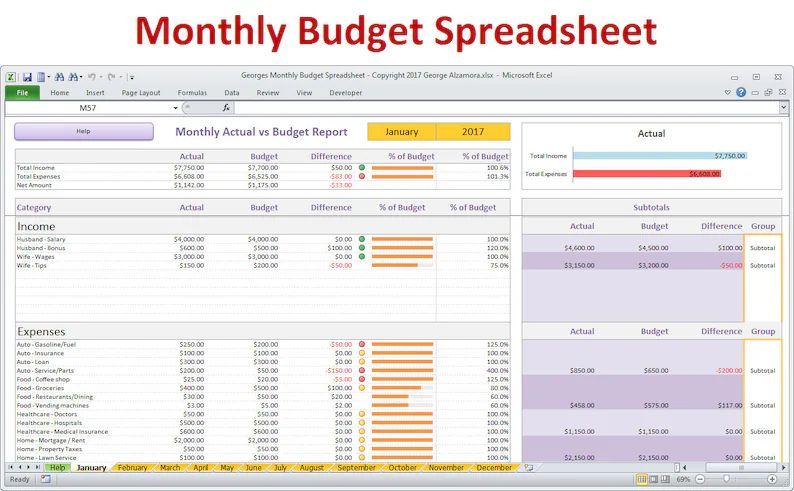 home finances spreadsheet