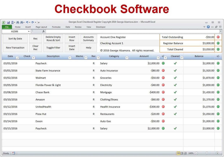Excel Checkbook Software Checkbook Register Spreadsheet Etsy