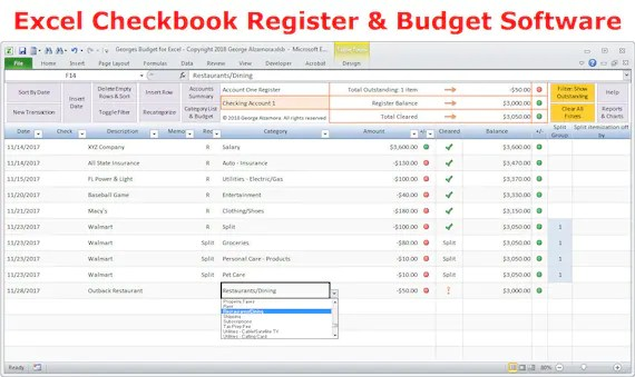 Excel budget spreadsheet template and checkbook register Etsy