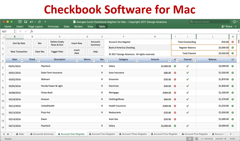 Checkbook Register for Mac Excel Checkbook Spreadsheet Etsy