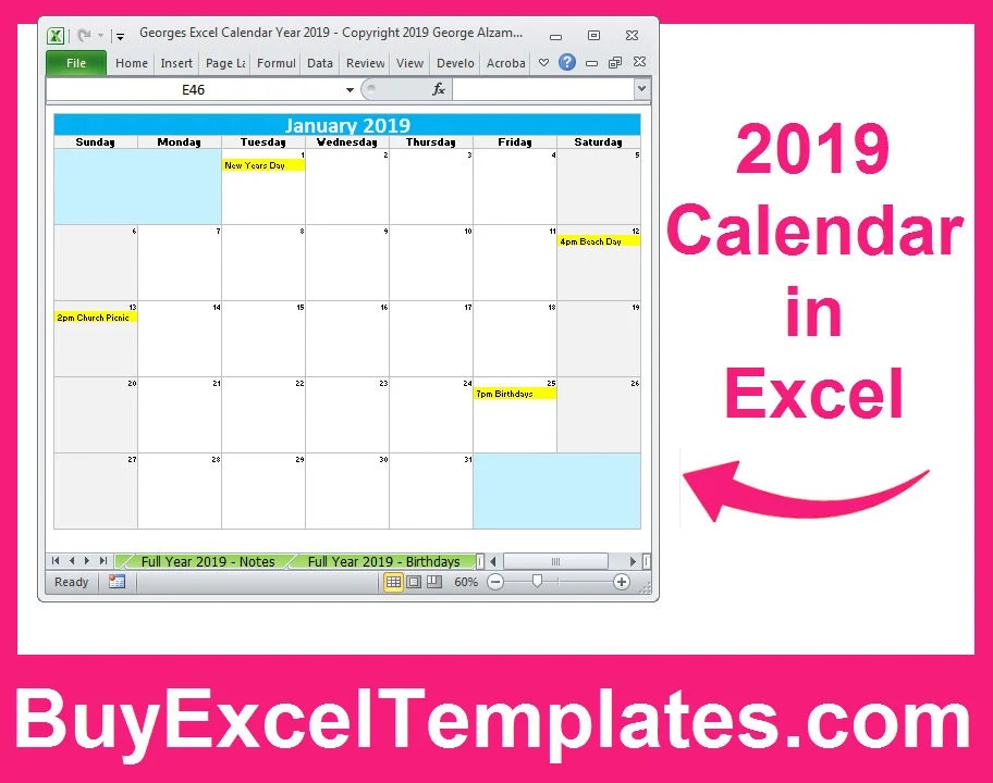 Printable 2019 Calendar Excel Templates 2019 One Page Full Etsy