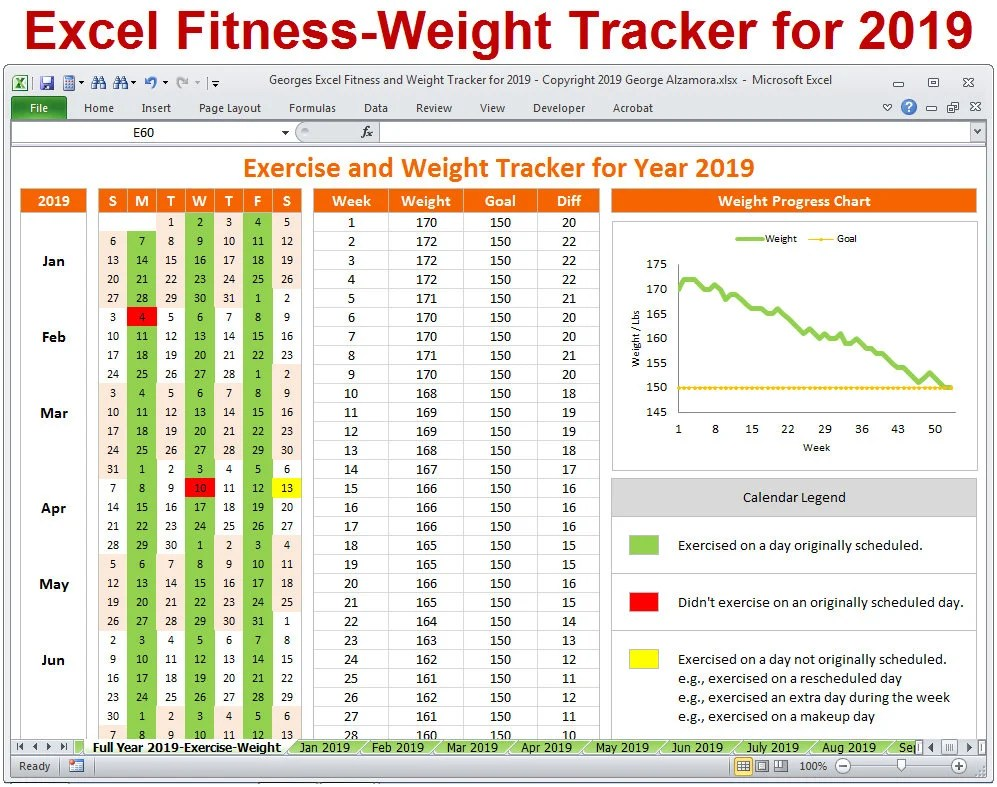 2019 Fitness and Weight Tracker in Excel Year 2019 Daily Etsy