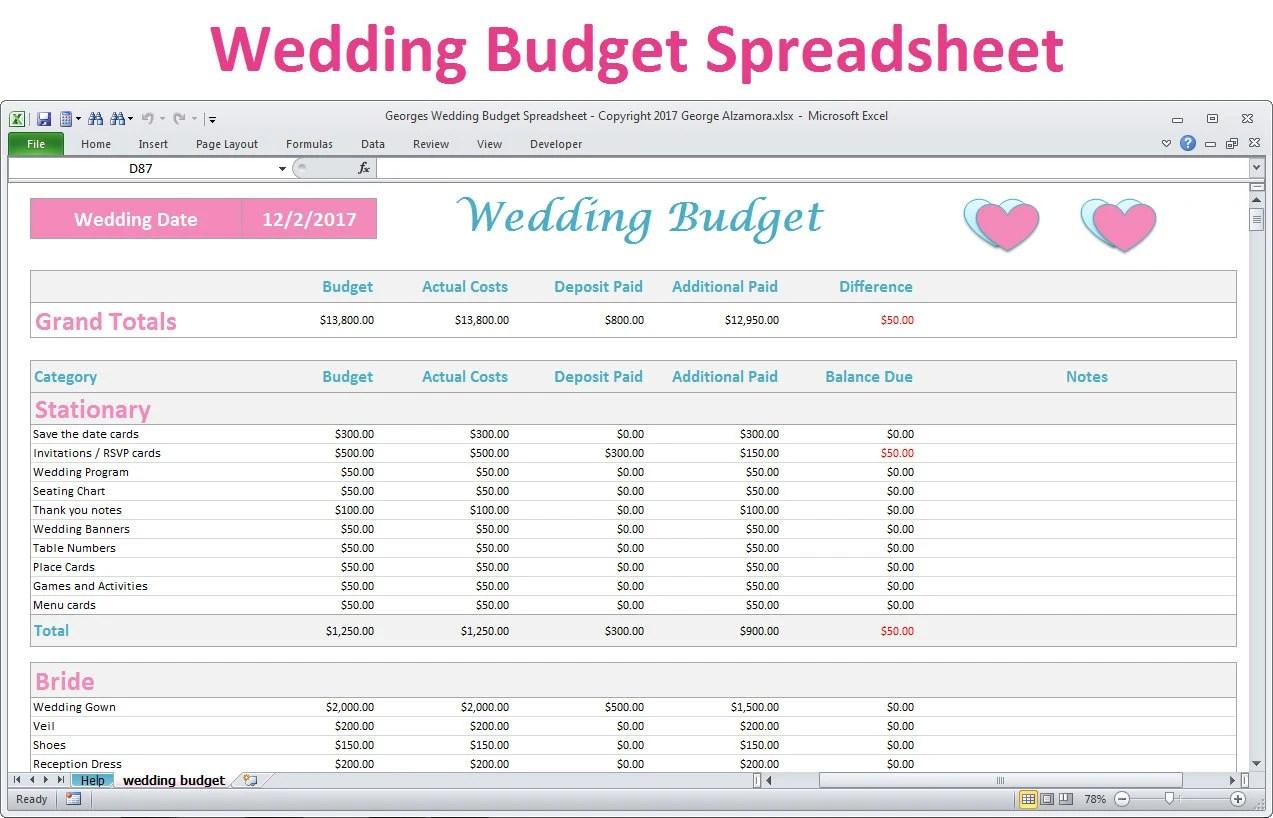 Wedding Budget Spreadsheet Planner Excel Wedding Budget Etsy