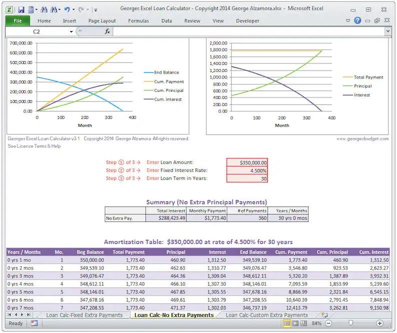 Excel Mortgage Calculator Home Loan Calculator Spreadsheet Etsy