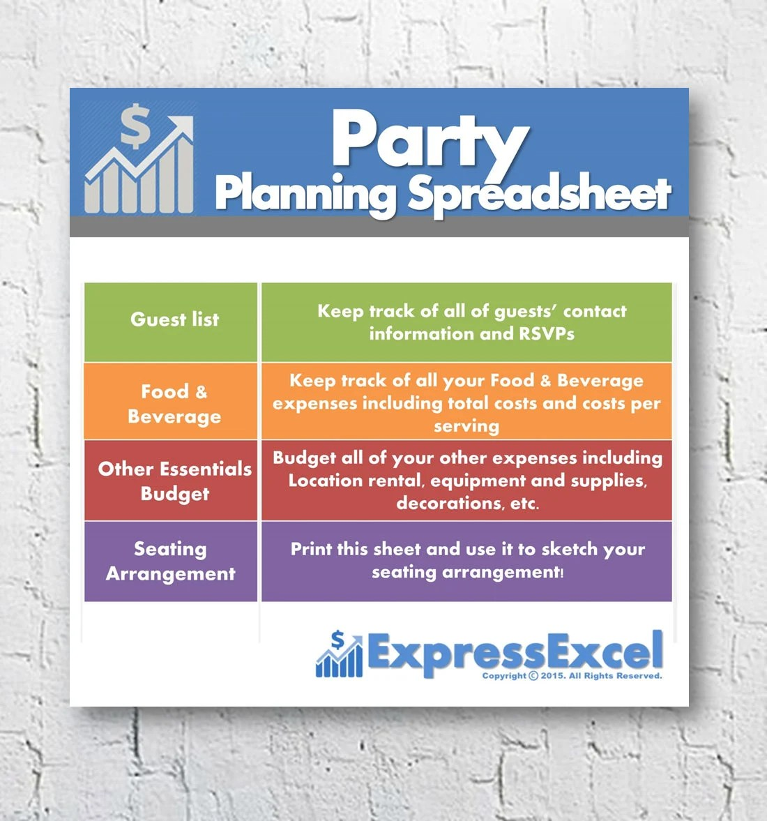 Party Planning Excel Spreadsheet Template Food  Beverage Etsy
