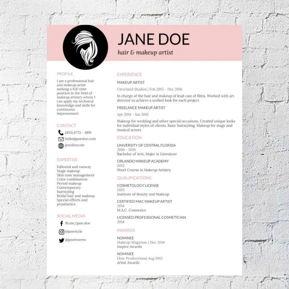 Hair Stylist Makeup Artist Resume Template Google Document Etsy